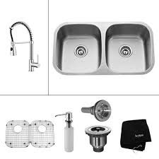home depot double stainless steel sink kraus all in one undermount stainless steel 32 in 50 50 double bowl