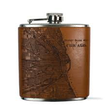 Leather Map Chicago Map Flask In Leather And Stainless Steel
