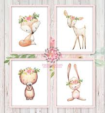 4 deer fox bunny rabbit bear woodland boho bohemian floral nursery