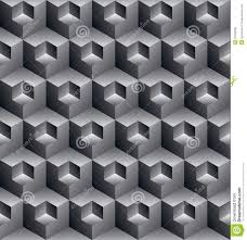 monochrome illusive abstract geometric seamless pattern with 3d