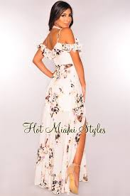 floral maxi dress white floral plunging shoulder ruffle maxi dress