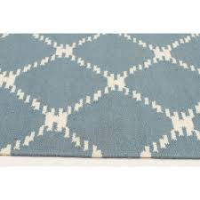 montpellier blue lattice wool runner rug