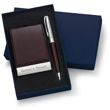 Leather Personalized Business Card Holder Designer Brown Leatherette Vertical Business Card Case And Pen Set