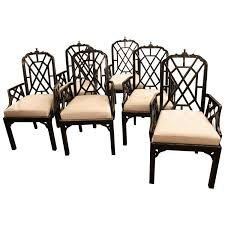 Bamboo Dining Room Chairs Set Of Six Or 10 Chinese Chippendale Dining Arm Chairs Pagoda