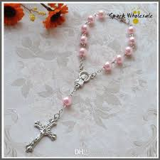 cheap rosaries religious gifts pink pearl rosary bracelet girl s communion