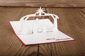 10pcs christmas pray 3d laser cut pop up cards craft paper cut