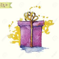 watercolor painting of a gift box illustration royalty free