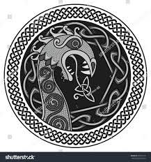 scandinavian design nasal figure viking ship stock vector
