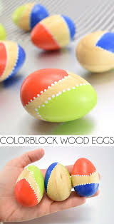 wooden easter eggs color blocked wooden easter eggs spark