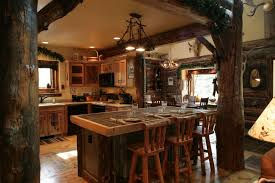 Warm Modern Kitchen - small log home decorating ideas with modern kitchen table on the