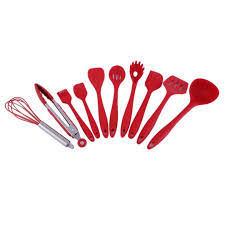 Red Kitchen Utensil Set - 10 piece set home kitchen silicone cooking utensil set kitchen