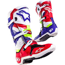 motocross boots size 10 new alpinestars mx tech 10 mxon le nations red blue fluro yellow