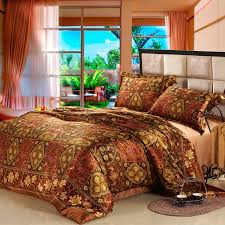 Vintage Comforter Sets Brown And Gold Vintage Floral And Indian Style Tribal Print Full