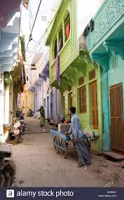 Painted Houses India Rajasthan Bundi Narrow Street Of Traditionally Painted