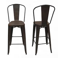 Wood And Metal Bar Stool Joveco 30 Inches Metal Barstool With Full Back And Wood Seat Set