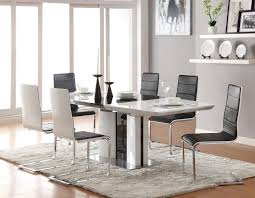modern glass dining room sets white furnitures black flooring tile
