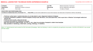 electrical laboratory technician cv work experience samples