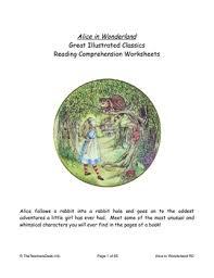 alice in wonderland reading comprehension u0026 l a worksheets