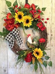 wreath for front door spring and summer door wreath with rooster