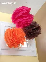 Pink And Brown Baby Shower Decorations Tissue Poms Flowers And Free Printables For Baby Shower