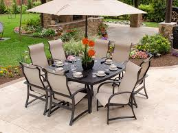 Chair King Outdoor Furniture - ibiza sling 9 pc aluminum dining set with 64 square slat top