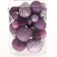 set of 20 lilac purple and silver christmas tree baubles