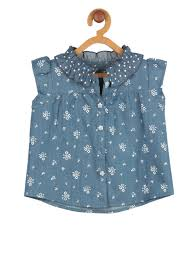 Little Berry Buy My Little Berry Girls Blue Printed Denim Top Tops For Girls