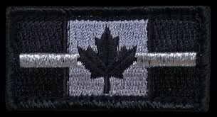 Canadian Flag Patch Blue Line Canada Pin