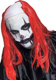 scary clown halloween mask red creepy evil killer clown wig fancy dress escapade uk