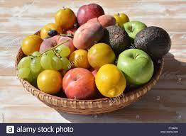 basket of fruit basket of fruit containing lemons yellow plums avocado