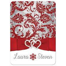 Red And Silver Wedding Wedding Invitation Winter Wonderland Red Silver White