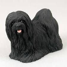 lhasa apso painted figurine statue black