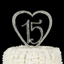 heart cake topper 15 heart cake topper silver birthday quinceañera party supplies