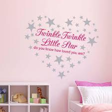 Nursery Rhyme Wall Decals Pink Twinkle Twinkle Wall Sticker Nursery Decal 60