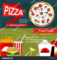 fast food banner design concept flat stock vector 374115325