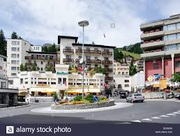 switzerland st moritz the town centre traffic roundabout