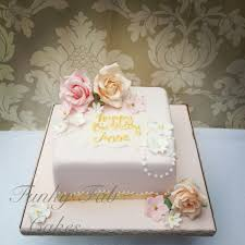 vintage floral 80th birthday cake with sugar flowers 80th