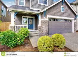house trim modern house gray exterior and blue white trim stock