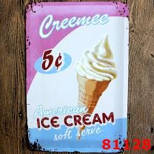 america ice cream vintage home decor tin sign coffee cake shop