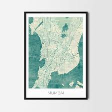 Home Decor In Mumbai Mumbai Gift Map Art Prints And Posters Home Decor Gifts