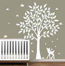 White Tree Wall Decal Nursery Wall Decoration Tree Wall Decals For Nursery Wall And Wall