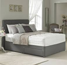 4ft bed small double divan bed base only in charcoal faux leather