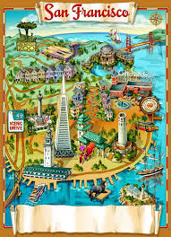 san francisco map for tourist illustrated map of san francisco map collection