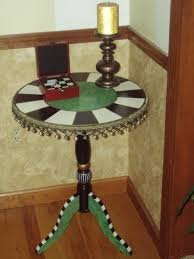 Small Round Pedestal Side Table Hand Crafted Hand Painted Round Pedestal Accent Side Table By