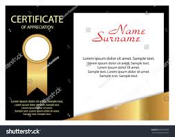 sample text for certificate of appreciation certificate appreciation elegant gold black design stock vector