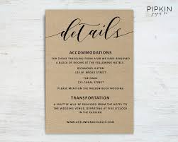 Wedding Invitation Information Card Wedding Details Template Wedding Information Card Rustic