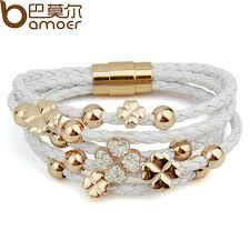 leaf wrap bracelet images Bamoer hot sell wrap leather rose gold color bracelet for women jpg