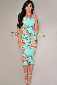 mint multi color floral textured midi dress