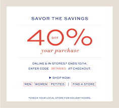 banana republic thanksgiving sale 40 your purchase in