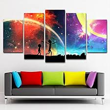 modern art for home decor amazon com 5 panels canvas painting rainbow painting poster wall